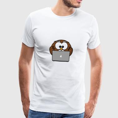 Laptop owl with notebook - Men's Premium T-Shirt