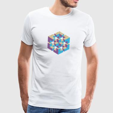 impossible figure Escher cube geometry fantasy - Men's Premium T-Shirt
