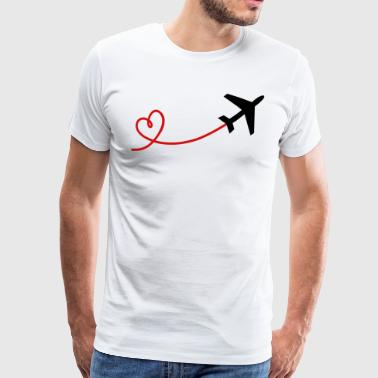 Airplane aviator with heart in black red - Men's Premium T-Shirt