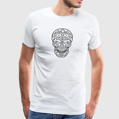 Flaming sugarskull - Herre premium T-shirt