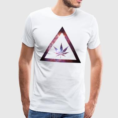 Galaxy Weed Cannabis Geometry Triangle - Mannen Premium T-shirt