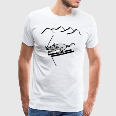 Skiing piste mountains mouse - Men's Premium T-Shirt