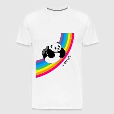 Happy Whatevs Panda on Rainbow - Men's Premium T-Shirt