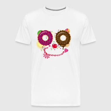 Sweet face with donuts and candy cane - Men's Premium T-Shirt