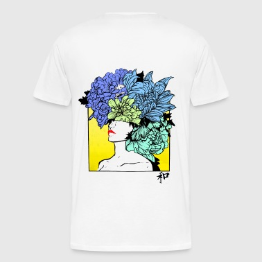 Yellow flowery portrait - Men's Premium T-Shirt
