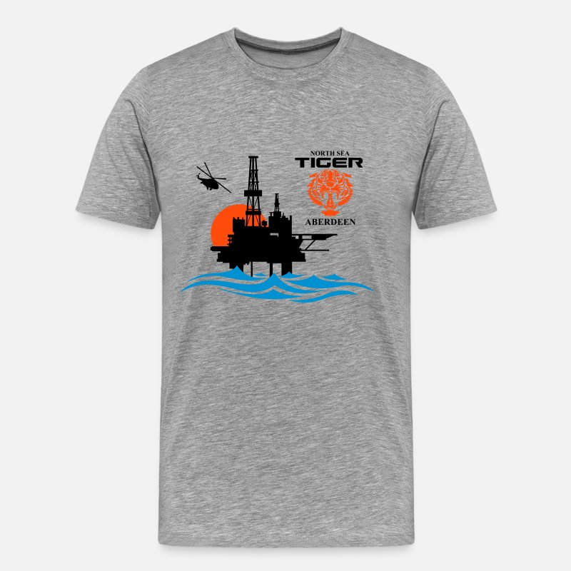 Oil T-Shirts - North Sea Tiger Oil Rig Platform Aberdeen - Men's Premium T-Shirt heather grey
