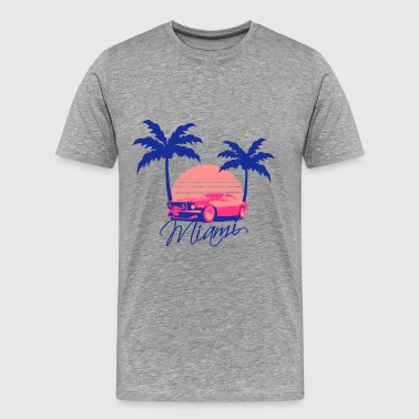 Mus Miami Beach Palms Logo Design - Mannen Premium T-shirt