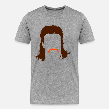 Retro Mullet hairstyle with Schnautzbart  - Men's Premium T-Shirt