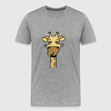 Giraffe eating comic hunger funny cool - Men's Premium T-Shirt