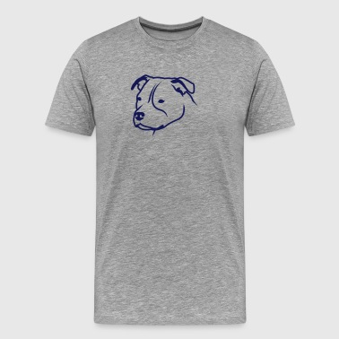 Staffbull HEAD Staffordshire Bullterrier 1c 4light - T-shirt Premium Homme
