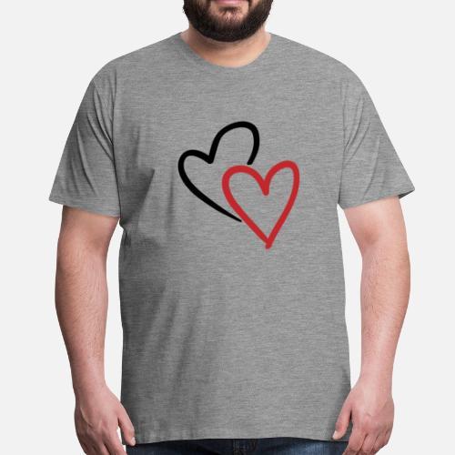 Zwei Ineinander Verschlungene Herzen In Rot Männer Premium T Shirt