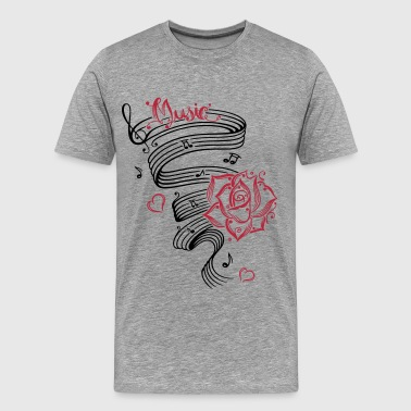 Classical Music Music notes with music sheet and rose. - Men's Premium T-Shirt
