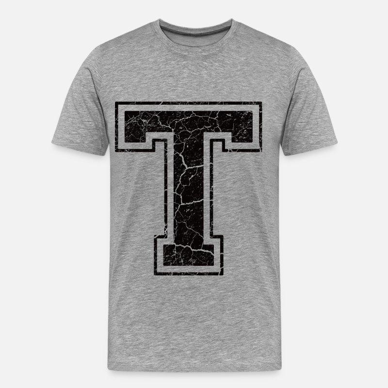 First Name T-Shirts - Letter T in grunge look - Men's Premium T-Shirt heather grey