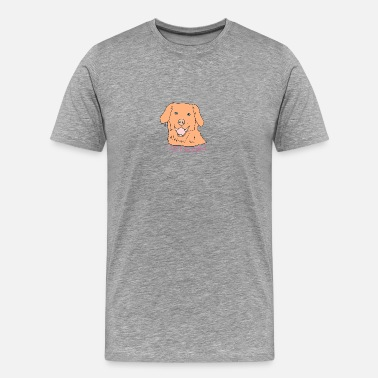 Love Letter Cute dog's head with lettering I like treat - Men's Premium T-Shirt