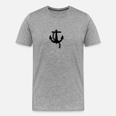 Psychobilly anchor navy simple black rockabilly design - Men's Premium T-Shirt