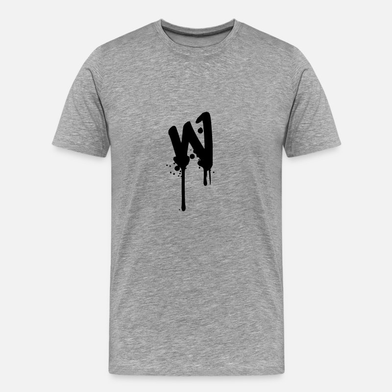 Word T-Shirts - W graffiti drops Farbklex spray - Men's Premium T-Shirt heather grey