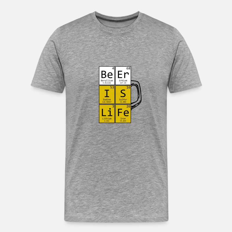 Geek T-shirts - Beer is Life Pint - T-shirt premium Homme gris chiné
