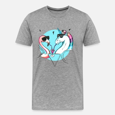 Flamant Rose Cool flamingo and unicorn - T-shirt Premium Homme
