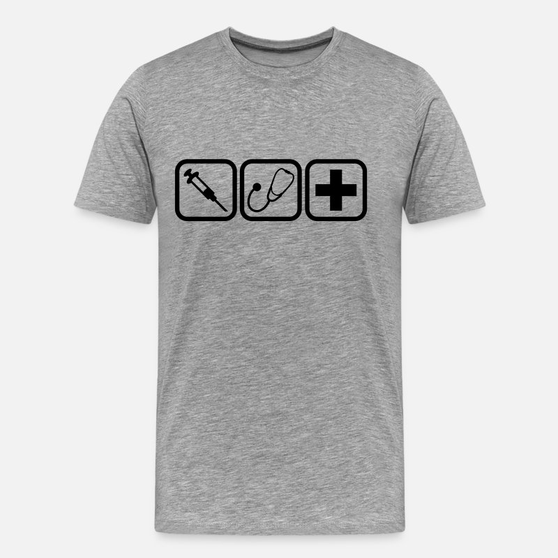 Doctor T-Shirts - Syringe stethoscope Cross doctor logo - Men's Premium T-Shirt heather grey