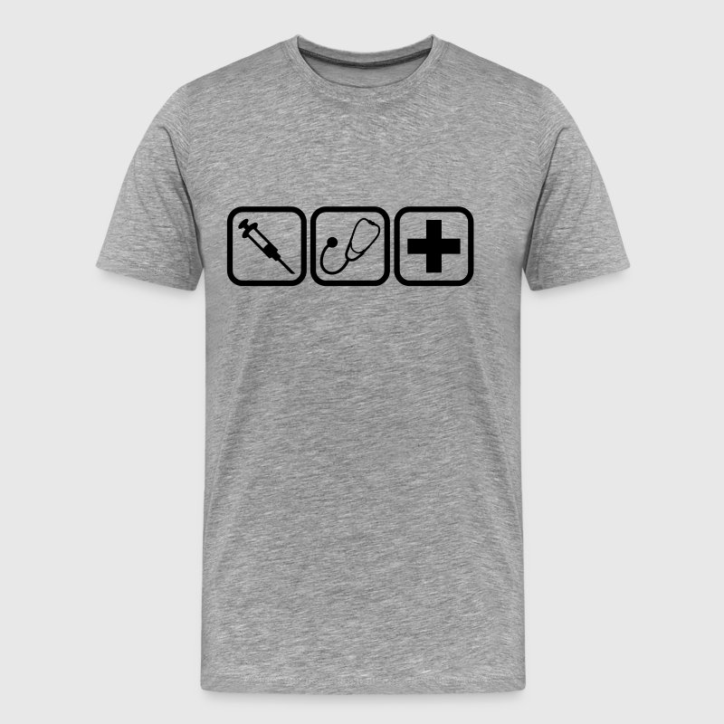 Syringe stethoscope Cross doctor logo - Men's Premium T-Shirt