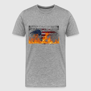burning USA constitution - Mannen Premium T-shirt