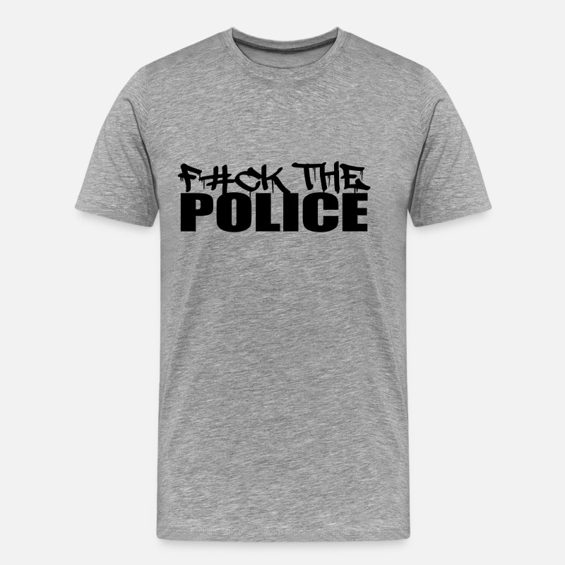 Police T-Shirts - Logo Design Fuck The Police - Men's Premium T-Shirt heather grey
