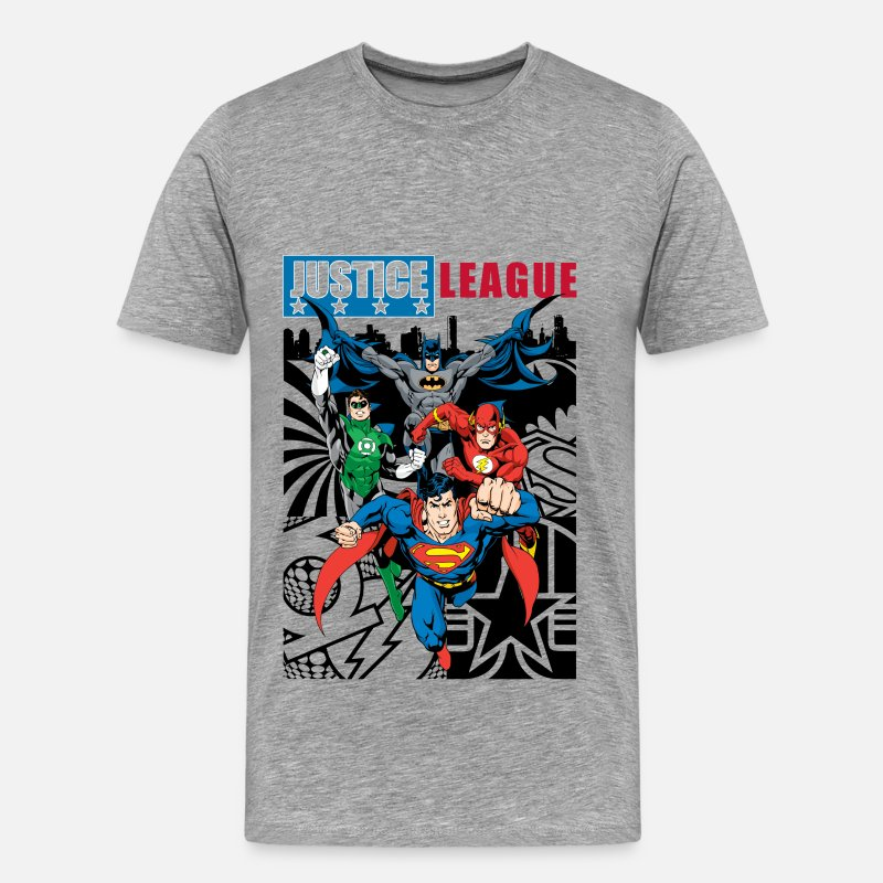 Batman T-Shirts - Justice League Comic Cover T-Shirt für Männer  - Männer Premium T-Shirt Grau meliert