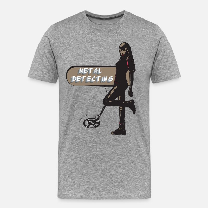 Archaeology T-Shirts - Sexy treasure hunter with metal detector - Men's Premium T-Shirt heather grey