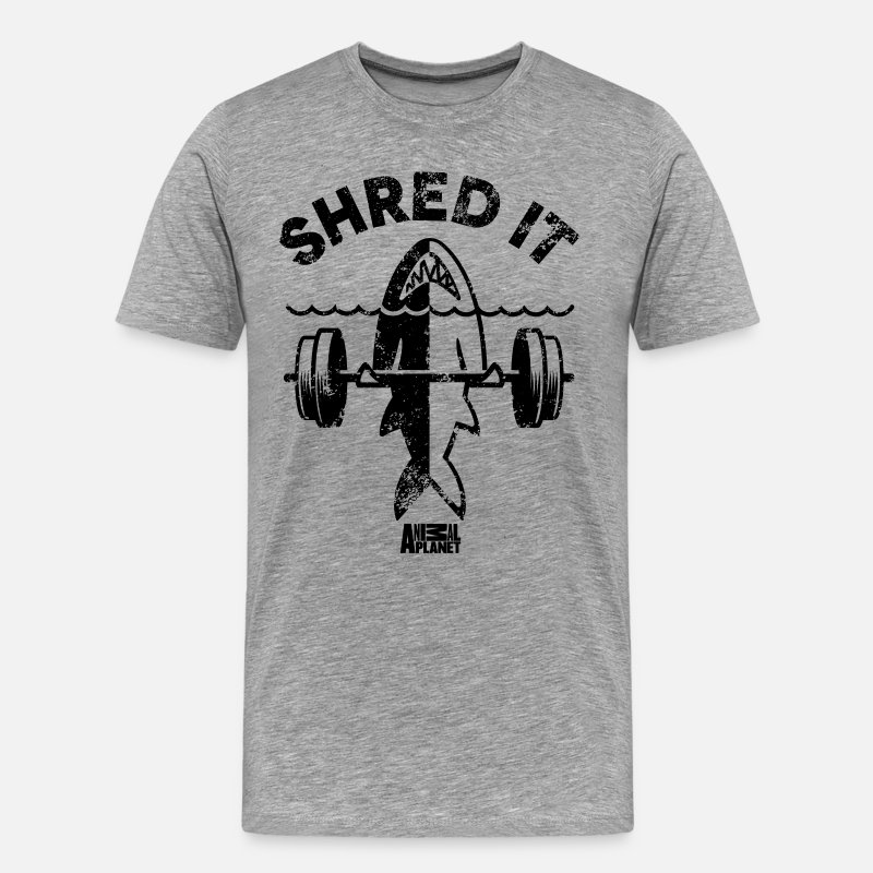 Gym T-Shirts - Animal Planet Ocean Humour Gym Shred It Shark - Men's Premium T-Shirt heather grey
