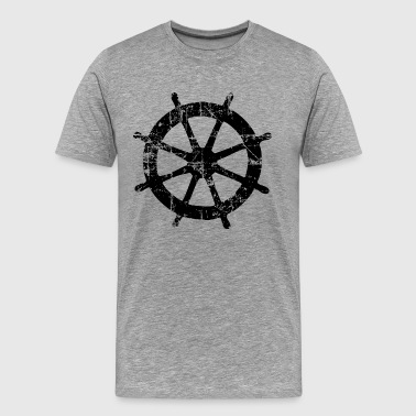 Steering Wheel Vintage Black Sailing Design (FR) - T-shirt Premium Homme