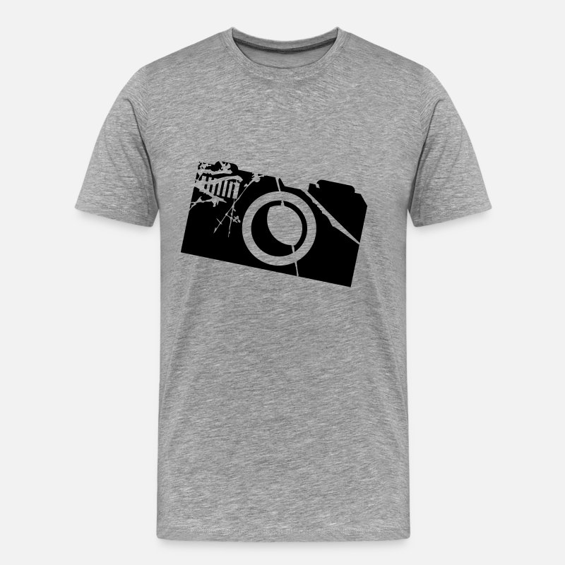 Camera T-Shirts - Camera Logo - Men's Premium T-Shirt heather grey