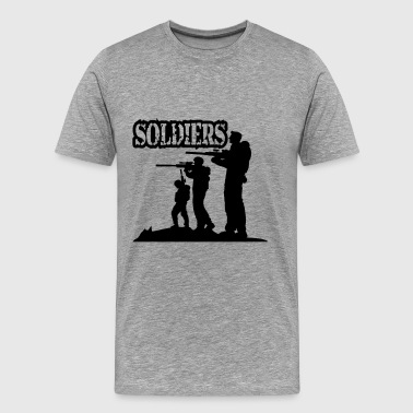 Soldiers squad army shooting fighting - Men's Premium T-Shirt