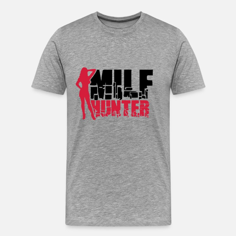 Tits T-Shirts - Sexy Milf Hunter Logo - Men's Premium T-Shirt heather grey