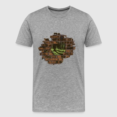 Decayed wall with forest view - Men's Premium T-Shirt