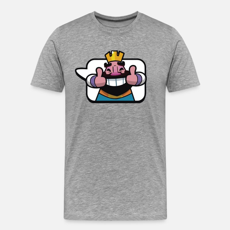 Clash Of Clans T-shirts - Clash Royale émoticône Roi - T-shirt premium Homme gris chiné