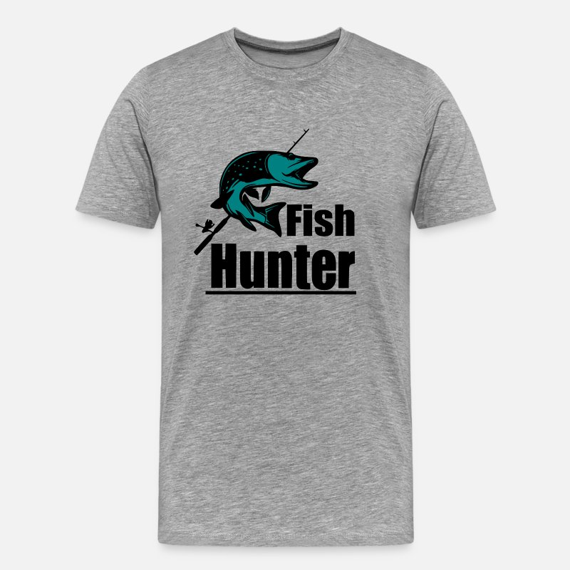 Sailboat T-Shirts - Fish Hunter - Fishing - Men's Premium T-Shirt heather grey