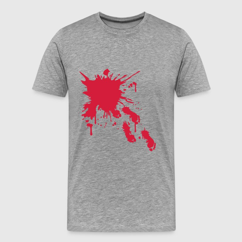 Crime scene blood footprints running walking away - Men's Premium T-Shirt