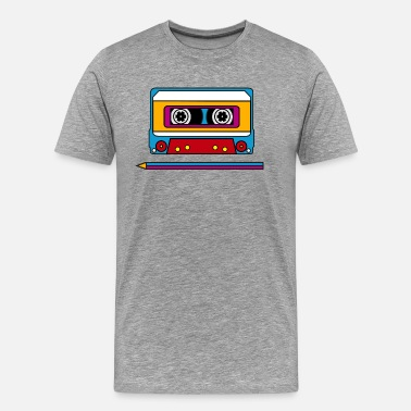 80er Retro mix tape, pencil, music, audio, walkman - Herre premium T-shirt