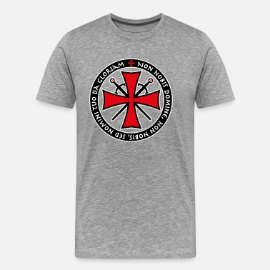 Knights Templar 05 Templar Cross Swords Non Nobis Domine saying - Men's Premium T-Shirt