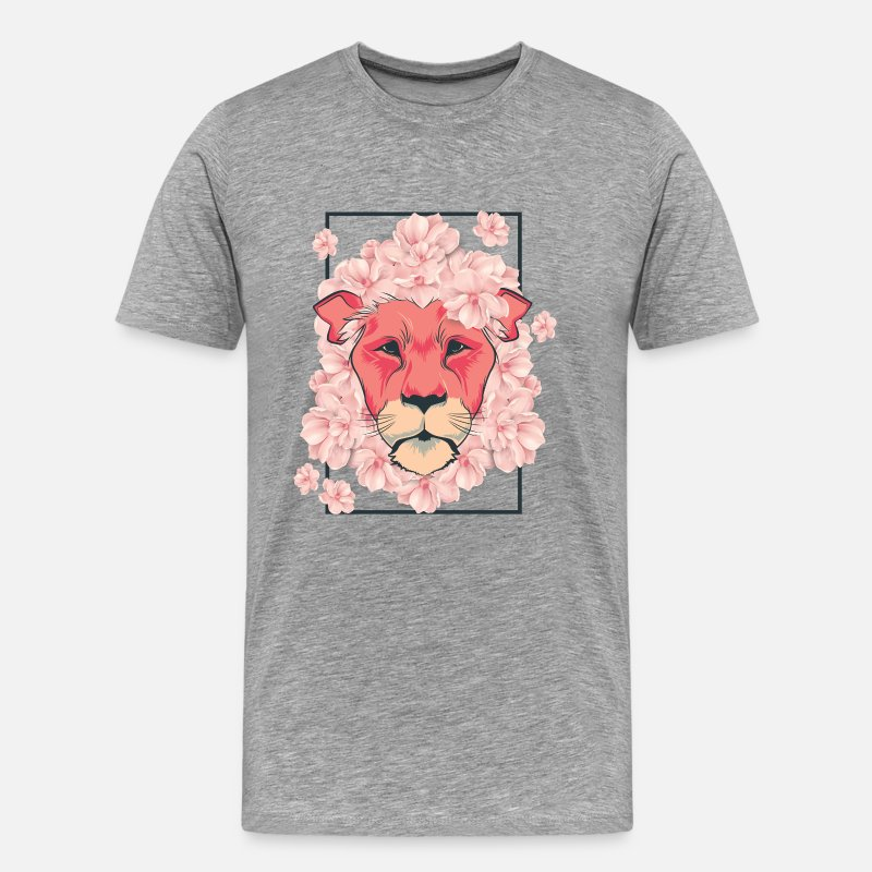 Gift Idea T-Shirts - Lion flowers flowers gift girl safari cat - Men's Premium T-Shirt heather grey