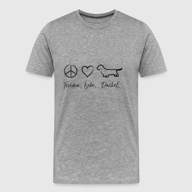 Peace Love Dachshund Dachshund musta - Miesten premium t-paita 969f1297fe