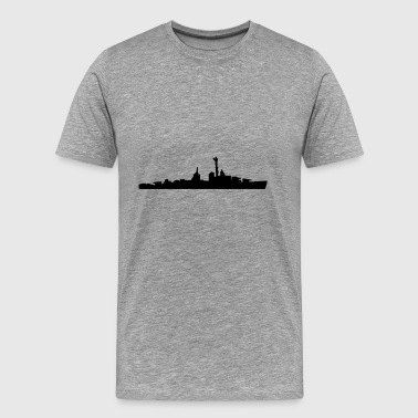 Vector Navy warship Silhouette - T-shirt Premium Homme