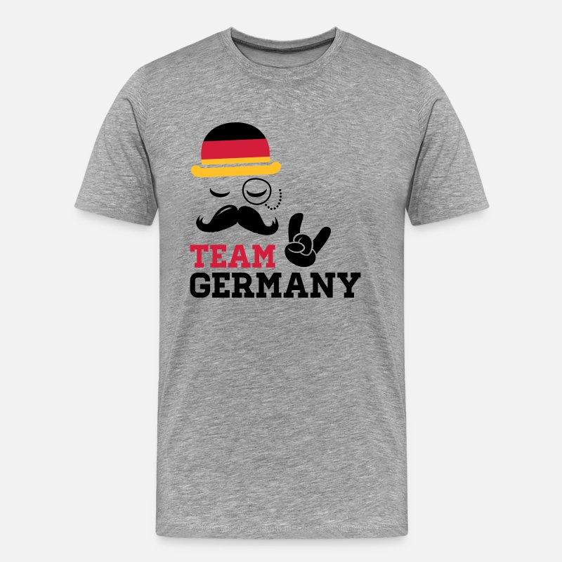 Boss T-Shirts - Germany team fashionable championship winner gold medal olympics football flag moustache - Men's Premium T-Shirt heather grey
