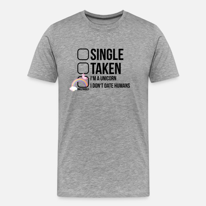 Funny T-Shirts - SmileyWorld I Don't Date Humans - Men's Premium T-Shirt heather grey