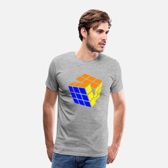 Cube T-Shirts - Rubik's Cube STB Solved - Men's Premium T-Shirt heather grey