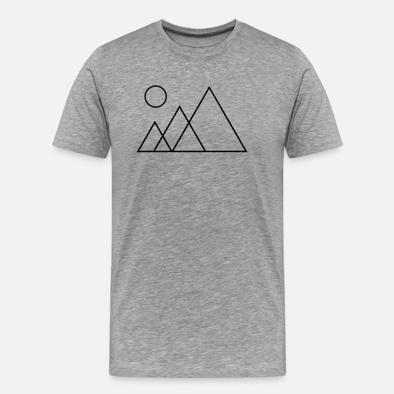 Geometric T-Shirts - Mountain Outline - Men's Premium T-Shirt heather grey