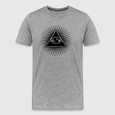 Illuminati Symbol Amulet All seeing eye, pyramid, Freemason, God, Horus - Men's Premium T-Shirt