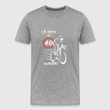Middle TheMAMIL Life begins at 40 (White transparent) - Men's Premium T-Shirt
