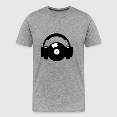 Headphones and vinyl record - disque vinyle - T-shirt Premium Homme