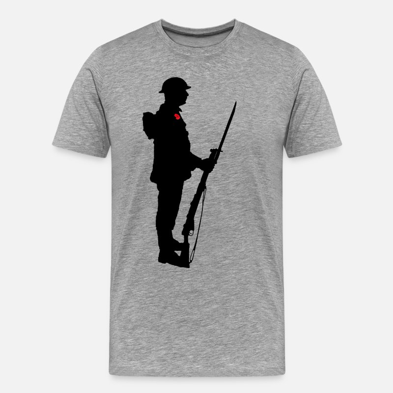 Poppy T-Shirts - Remembrance Day Soldier WW1 - Men's Premium T-Shirt heather grey
